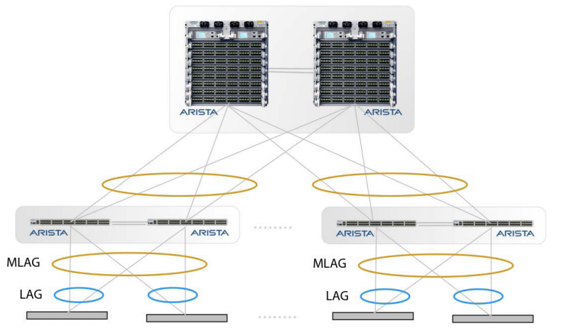Arista 7000 network switches form an MLAG pair